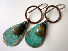 Gaia's Tears - messy olive and teal lampwork glass drops, crusty aqua verdigris copper teardrops charms, & patina copper hoops earring pair by LoveRoot