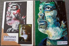explorations with colour & texture,working from own photographs A Level Art Sketchbook Layout, Gcse Art Sketchbook, Sketchbook Assignments, 7th Grade Art, Art Alevel, Sketch Painting, Sketchbook Inspiration, Art Portfolio, Art Pages