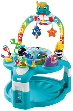 This sea of activities grows with your baby - from a playmat to an activity saucer! The 2-in-1 Lights & Sea Activity Gym & Saucer(TM) has an amazing toy bar that not only entertains baby with a mesmerizing light show - it also attaches to both a play mat to become an engaging playgym, and then transfers to the activity table to become a saucer full of sea-themed activities.