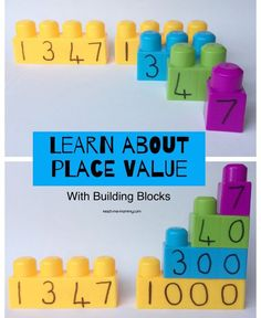 Learn Place Value with Building Blocks! Use your Duplo blocks together with a dry erase marker to teach place value in a hands-on and effective way! Perfect for grade 2's!