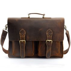 "Men's Vintage Leather Briefcase, Messenger Bag -- with a 14"" 15"" Laptop / 13"" 15"" MacBook Sleeve"