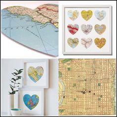 art work wall heart map