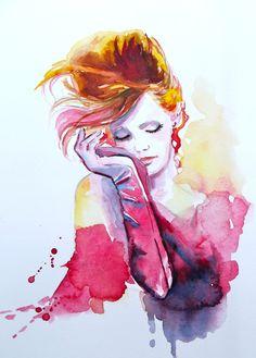 Original Fashion Watercolor Painting, Contemporary Modern Wall Art,  illustration abstract home wall decor by Lana.