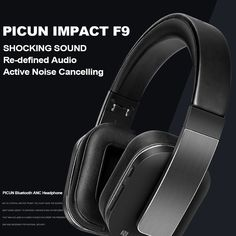 Picun Impact F9 ANC Wireless BT Active Noise Cancelling Headset Sales Online black - Tomtop Noise Cancelling Headset, Tech Accessories, Bluetooth, Smartphone, Black, Black People