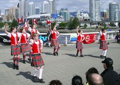 Kilts with red vests & white socks #british #columbia #red #tartan