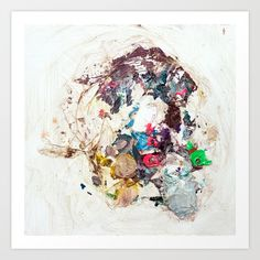 A collage of paint colorful colourful impasto paint diry trash smudgy wild pink green white zen round layers