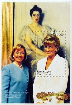 """Diana with Hilary Clinton"" Commemorative Stamp Sheet Issued by the Republic of Togo, Diana - Princess of Wales 1961 - 1997."