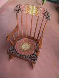 Wordless Wednesday: Sunflower Mandala Mosaic Chair by Margaret Almon - Margaret Almon Mosaic Tile Art, Mosaic Diy, Mosaic Crafts, Mosaic Projects, Mosaic Glass, Glass Art, Mosaic Furniture, Diy Furniture Projects, Upcycled Furniture