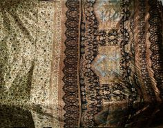 VINTAGE ANTIQUE 5 YARD OLD USED ART SILK FABRIC SARI SILKS MATERIAL SAREE SHARY