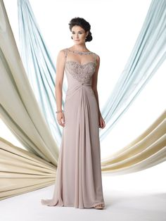 Sleeveless chiffon A-line dress with illusion bateau neckline trimmed with ornate hand-beading, sweetheart bodice encrusted with beading features an unique beaded illusion racer back, midriff and skirt gathered at center, sweep train, suitable as a dress to wear to a wedding. Matching shawl included. Sizes: 4 – 20 Colors: Taupe, Light Turquoise, Wine, Ivory, Royal …