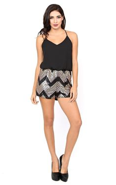 Chevron Sparkle Woven Romper - Dresses - Shop