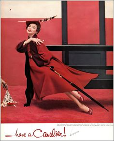 Dorian Leigh, detail of Cavalier cigarette ad, coat by Seymour Fox, hat by Mr. John, I.Miller shoes, Cavalier red color and umbrella by Balmain, photo by Lillian Bassman, Harper's Bazaar, Sept. 1951