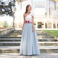 Falda Carrie Larga Gris Perla - Aluèt. Un look de invitada perfecta para bodas y eventos confeccionado a mano en galicia. Se realiza a medida previo encargo