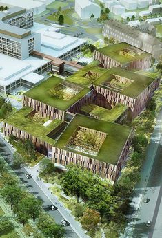 Green roofing, career roofing, vegetated roofing, ecoroofs — whatever it is that you want to ring these guys. Green Architecture, Architecture Student, Concept Architecture, Futuristic Architecture, Sustainable Architecture, Landscape Architecture, Architecture Design, Residential Architecture, Contemporary Architecture