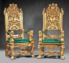 A Large Pair of Italian Gildwood Carved Baroque Style Throne Armchairs in the… Old World Furniture, Unique Furniture, Luxury Furniture, Gold Furniture, Furniture Design, Royal Sofa, Luis Xvi, Throne Chair, Luxury Chairs