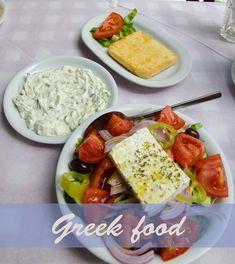 Greek salad, tzatziki, calamari, fried cheese and Greek beer, Mythos. Fried Cheese, Cheese Fries, Athens City, Calamari, Greek Salad, Tzatziki, Greek Recipes, Cobb Salad, Salad Recipes