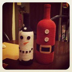Handmade Christmas wine bottles