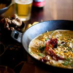 A creamy corn and bacon chowder recipe to warm a winter night. Bacon Corn Chowder, Soup Dish, Creamy Corn, Chowder Recipes, Man Food, Bacon Recipes, Cheeseburger Chowder, Winter Night, Curry