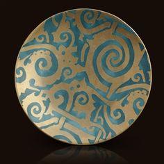 L'Objet Maori Teal Fortuny Dessert Plate (Set of 4)
