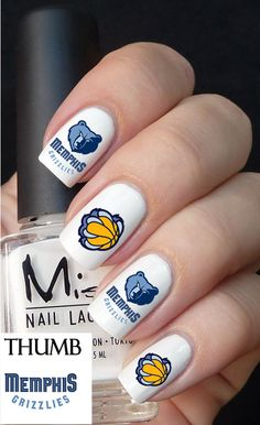 Memphis Grizzlies NBA Nail decals 50pc by DesignerNails on Etsy, $4.00
