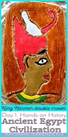 Make learning about Ancient Egypt come alive with this hands-on history project in this hands-on history ancient civilization series. Using salt dough, create a picture of King Narmer (also known as Menes) who wore the double crown. A kid of any age will love doing this. Click here how to do this with easy things you have around your house!   Tina's Dynamic Homeschool Plus
