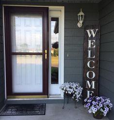 Oversized Front Door Front Patio Rustic Welcome. Oversized Front Door Front Patio Rustic Welcome. Patio Decor, Farmhouse Decor, Front Patio, Front Porch Decorating, Welcome Signs Front Door, Front Door, House With Porch, Porch Design, Door Decorations