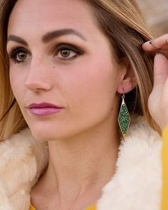 Braxton Beaded Elongated Diamond Earrings