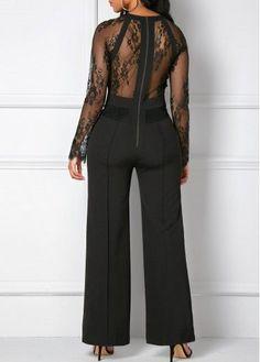 Lace Panel Zipper Back Black Pocket Jumpsuit on sale only US$36.32 now, buy cheap Lace Panel Zipper Back Black Pocket Jumpsuit at liligal.com