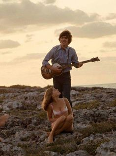 George Harrison with Paul's Hofner bass in the Bahamas filming 'Another Girl'…