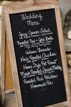 chalkboard wedding menu. I know we're having a buffet style (where other people brings something to share) but we will be providing the basics so this might be nice to have :)