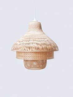 Looking for a soft, warm bedroom pendant light? Why not try a wicker/rattan/basket pendant light. Interior Lighting, Home Lighting, Lighting Design, Pendant Lighting, Pendant Lamps, Bedroom Lighting, Bamboo Pendant Light, Bamboo Light, Bamboo Lamps