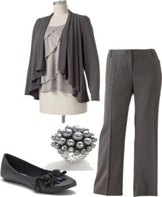 Nice Work outfit | Gray Slacks and top with a complimenting bracelet and a nice pair of flats
