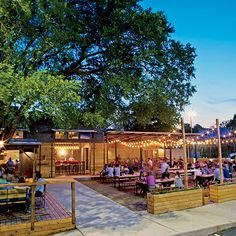 [Happy Hour/Dinner] Modeled after the Contigo Ranch in South Texas, this East Austin restaurant has a great patio, delicious cocktails and creative food (hello ox-tongue sliders! Outdoor Restaurant Design, Restaurant Bar, Backyard Restaurant, Restaurant Exterior Design, Rustic Restaurant, Container Restaurant, Container Cafe, Garden Cafe, Beer Garden