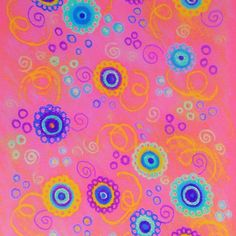 RASPBERRY FIZZ - Sweet Pink Fruity Candy Swirls Abstract Watercolor Painting Bright Feminine Art