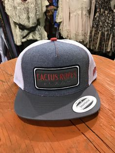 b9e95f11d71c2 Hooey CR024Y Denim White Cactus Ropes Trucker Hooey Hat