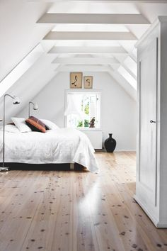 White roof windows in a loft bedroom conversion. Simple & beautiful.