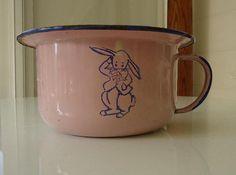 RARE Vintage Peter Rabbit Child Potty Training Enameled Bowl Chamber Baby Pot