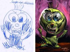 Artist Dave Devries takes children's drawings and fleshes them out into cool monsters