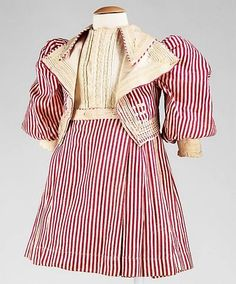 Red and White Striped Boys Emsemble 1800s Fashion, Vintage Fashion, American Children, Red And White Stripes, Dolls, Clothes, Dresses, Baby Dolls, Outfits