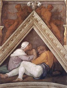 ❤ - MICHELANGELO BUONARROTI - (1475 - 1564) - Sistine Chapel - Ancestors of Christ (detail).