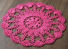 pink round crochet doily