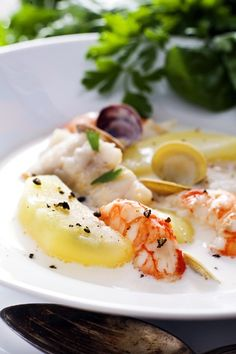 """This is our famous """"Gazpachuelo"""" a dish with white fish, shrimps, clamps and potatoes with a bit of virgin extra olive oil majonnaise dissolved in the soup...  Nuestro Gazpachuelo de Málaga  