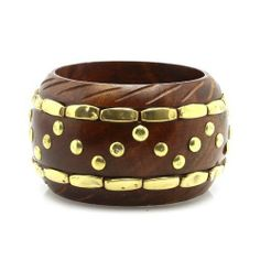 """Fashion Wooden Bangle; 2.5"""" Diameter And 2""""L; Brown Wood With Gold Embellishments; Eileen's Collection. $19.99. Save 50% Off!"""