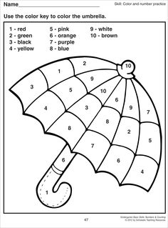 colour by numbers worksheet for preschool - Google-haku