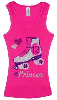 Girls 12th  Birthday Roller Skate Tank Top Shirt by BubbleGumDivas