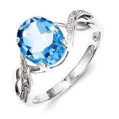 Sterling Silver Rhodium Light Swiss Blue Topaz & Diamond Ring
