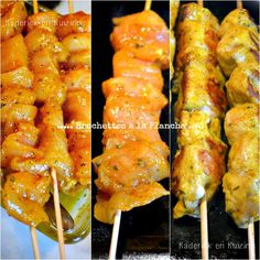 Chicken Plancha - Chicken skewers marinated in turmeric and baking in the . Sauce Recipes, Meat Recipes, Cooking Recipes, Healthy Recipes, Bbq Skewers, Chicken Skewers, Kabobs, Barbacoa, Fingers Food