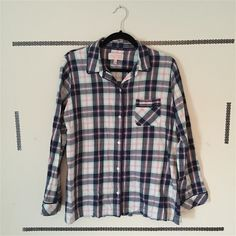 !! Victoria's Secret Top!! ** Victoria's Secret Pajamas top but I wear it as a bottom down plaid shirt. Only worn once or twice. In great condition!! ** Victoria's Secret Tops Button Down Shirts