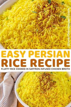 Persian Yellow Rice is a flavorful, easy rice recipe and must have side dish for Persian food! Fluffy basmati rice cooked in saffron-infused chicken broth. #dinner #rice #Persianfood #Persianrice #yellowrice #dinnerthendessert Yellow Rice Recipes, Basmati Rice Recipes, Easy Rice Recipes, Healthy Recipes, Easy Persian Rice Recipe, Persian Food Recipes, Saffron Recipes, Mediterranean Diet Recipes, Rice