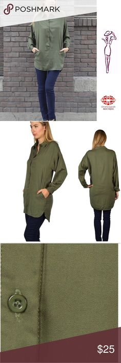 "Olive Button Down Trendy Tunic Olive button down long shirt/tunic. Classic and trendy. Beautiful design with longer back and side pockets. Pair with your favorite leggings or skinny jeans. Size: S. (Loose fit) Length: 34"". Chest: 21.5"". Hip:18.5"". Fabric: 100%cotton. Boutique Tops Tunics"